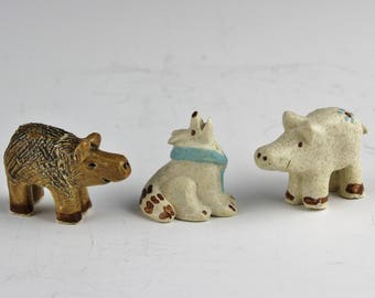 Miniature Animals, Javelina, Frog, Handmade Ceramics for Nativity Sets or Collectors by Arizona Artist, Karlene Voepel.  Sold Individually.