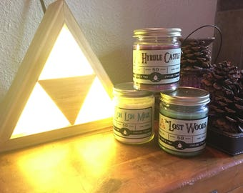 Legend of Zelda themed scented soy candle
