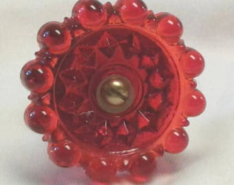 Victorian Style Drawer Pull or Door Knob in Brilliant Red Glass