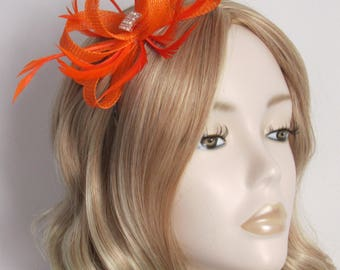 NEON ORANGE FASCINATOR, Made of sinamay, with biot feathers, square of crystals , 3mm Silver headband