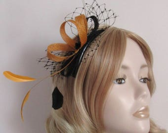 OLD GOLD and BLACK Fascinator, with sinamay loops, net, sequins and Coque feathers, on a Black comb