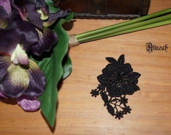 1 black guipure lace flower pattern