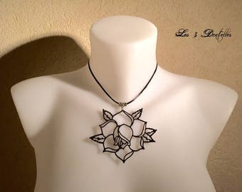 Necklace black Gothic rose tattoo * 3 lace *.