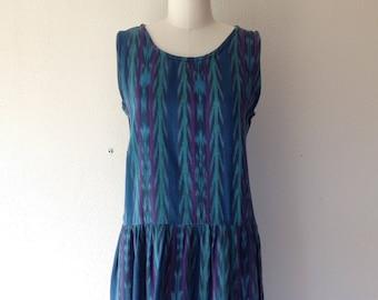 1980s Guatemalan drop waist cotton dress