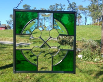 Celtic Cross Green Beveled Stained Glass Suncatcher Irish Housewarming Gift