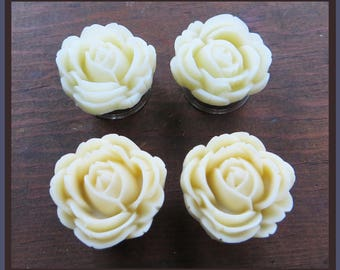 "Ivory or Cream large matte flower stainless steel EAR PLUGS gauge - 13/16"", 11/16"", 7/8"", 1"", 1 1/16"" - 20mm, 22mm, 25mm, 28mm"