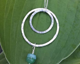 Silver double circle necklace with turquoise amazonite and green aventurine