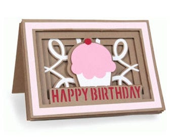 Happy Birthday Cupcake Blank Card , Layered , Pop Dots , Family , Friends , Kids ,  Free Confetti , Free Shipping