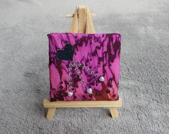 chalkboard in silk, handpainted, purple, coeur@evysoie pattern background