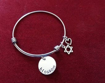 3 Fonts to choose from/NAME charm, bangle bracelet, Star of David, Heart charm, Bat Mitzvah Gift/child size available also, Hand stamped