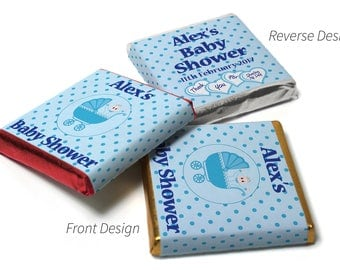 Personalised Chocolate Neapolitan squares Spotty Blue Baby Shower  - Gold/Silver & Red foils