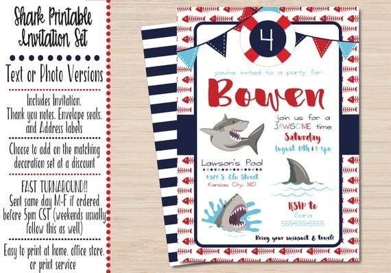 Shark Party Invitations Shark Birthday Party Shark Birthday