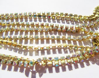 30 CMS ON 2 MM IRIDESCENT CRYSTAL RHINESTONES 30CMS HAS SEW EMBEDDED GOLD 2 MM CHAIN