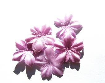 2 FLOWERS SATIN DUCHESSE SILK LILAC SHAPED SIZE 35 MM