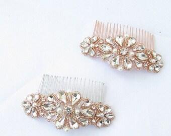 Rose Gold Silver Ivory Pearl Bridal Hair Comb Bridesmaid Diamante Beaded 4899