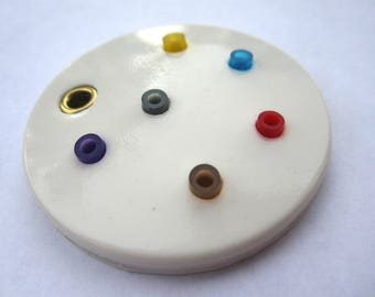 white silicone rubber jewellery pendant with colorful pearl, modern minimalist pendant round shape  design