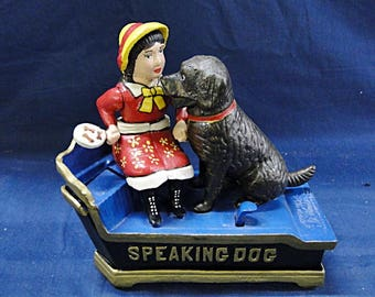 Speaking Dog Reproduction Cast Iron Bank