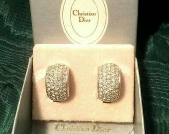 Vintage Christian Dior Earrings Crystal Pave Rhinestone Silvertone designer statement Haute Couture Earrings Minty prom small Authentic