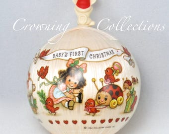 1984 Hallmark Baby's First Christmas Ornament Girl Satin Ball Unbreakable Mouse 1st Pink Vintage Keepsake RARE HTF Bulb