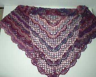 crochet scarf / shawl wool degraded