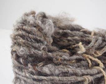 """Handspun Art Yarn/ """"Plain Jane No.2""""/ Natural Wool Yarn/ Lock Spun Yarn/ Super Bulky/ Undyed Handspun Yarn/ Grey Handspun Yarn"""