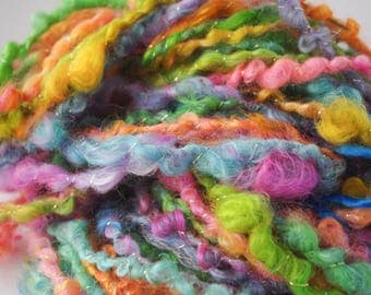"Handspun Art Yarn/ ""Candy Necklace""/ Corespun Yarn/ Rainbow Yarn/ Glitter Yarn"