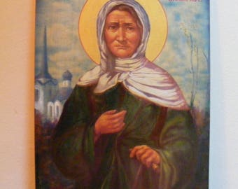 "Saint Xenia icon hand painted of hot colors directly on solid wood 24x32x2 см ( 9.6""x 12.8""x0.8"" )"