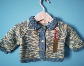Cardigans for babies 6 months in pure merino wool melange blue and beige