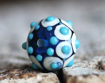 Handmade Lampwork Glass Bead 17x11 mm Blue Brown