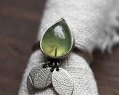 Susurrus Ring. size 6 ( green prehnite gemstone ring. antique sterling silver. oxidized leaf print. green nature jewelry )