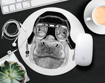 Hippo Mouse Pad Animal in Glasses Cute Mouse Mat Funny Mouse Pad Round MousePad Hipster Mouse Mat Desk Accessories Animal Lover Gift iDea