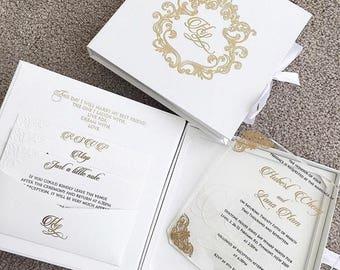 100 Personalised Day Evening Elegant Boxed Invitations Clear Acrylic Wedding Invitations