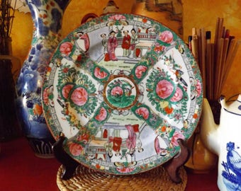 Cantonese porcelain famille rose plate decorated with characters, flowers and birds, mark Qianlong Nian Zhi Macau 1950s