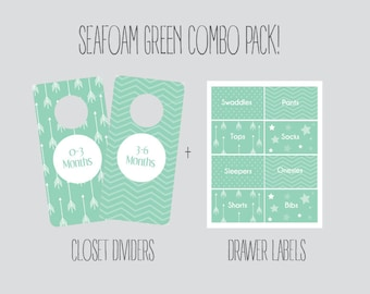 COMBO PACK - Sea Foam Mint Green Closet Dividers and Drawer labels, Nursery, baby room, baby girl, baby girl shower gift, Organization