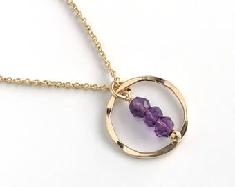 Karma Necklaces for Women - Simple Birthstone Necklace -  Amethyst Necklaces for Women - Dainty Amethyst Necklace