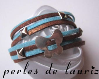 Bracelet double suede between Brown and turquoise