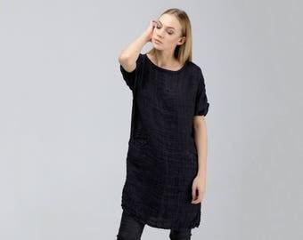 Loose Linen Tunic Dress / Long Linen Tunic / Black Tunic / Knee Length Tunic / Loose Fit Tunic / Long Linen Top / Wide Tunic / Black Top
