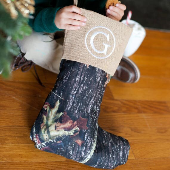 Monogrammed Christmas Stocking Camouflage Stocking Christmas Decor Camo Holiday Home Decor Christmas Collection Monogrammed Gifts