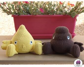 PRE-ORDER / custom made Pee & Poo handmade amigurumi (hand-knitted crochet)