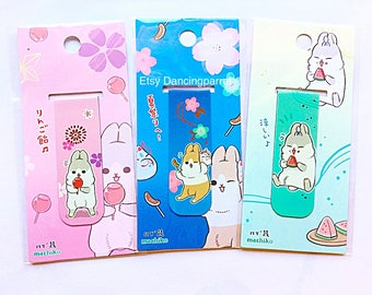 3 Kawaii rabbit bookmarks Bunny Rabbit Machiko Kawaii stationery Cute bookmarks Rabbit lover gift Anime Japan style Magnetic bookmark clips
