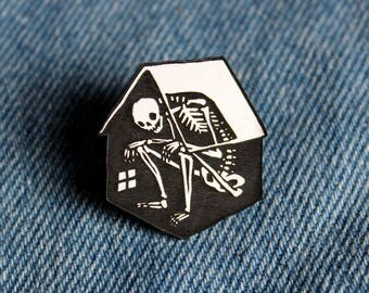 Skeleton in House Pin, black and white, laser cut acrylic