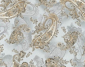 La Scala Platinum Metallic Paisley from Robert Kaufman by the yard