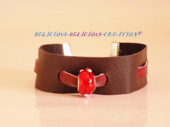 Tres Original Bracelet En smili Cuir !! REDLACE !! Marron rouge 17.5cm adjustable a 22cm belicious-delicious-creation