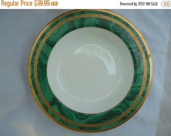 "Gaudron Malachite Christian Dior Soup Plate Bowl Dish 9 1/4"" Green Gold"