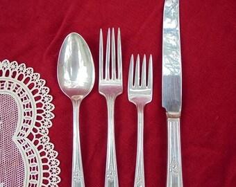 SILVER PLATE, RODGERS Wm, Flatware Set, Fork Spoon Knife,Art Deco Style
