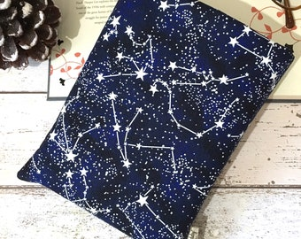 Constellations Glow in the Dark Book Buddy, Small Medium Book Bag, Book Lover Gift, Star Book Pouch, Paperback Cover, Night Reading Gift