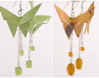 Green Origami butterflies earrings - orange