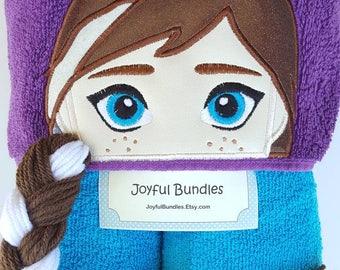 Ice Princess Hooded Towel, Kid's Hooded Towel, Anna Bath Towel, Anna Pool Towel, Anna Hooded Towel, Ice Princess Anna Hooded Towel