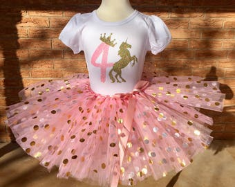 Fourth birthday shirt, 4th birthday outfit, girls fourth birthday, unicorn party birthday, 4 year old birthday outfit, pink and gold crown