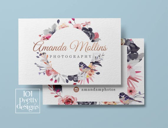 Floral business card design flowers business card template printable il570xn accmission Choice Image